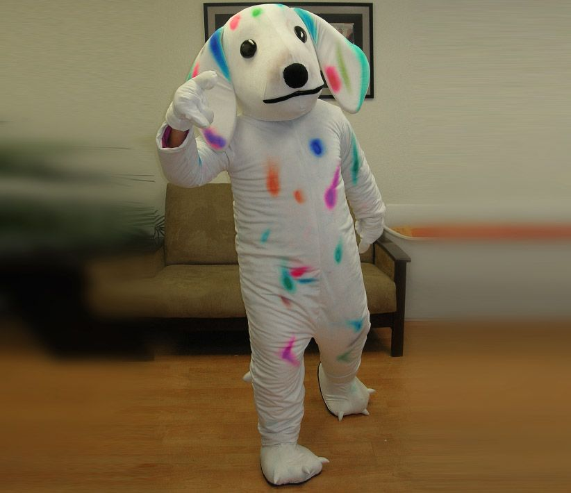 Colorful Spotted Dog Mascot Costume